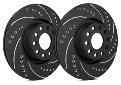 Fit 2013 Kia Optima Front PSport Black Drilled Brake Rotors+Ceramic Brake Pads